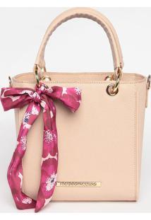 Bolsa Transversal Com Bag Charm - Bege Claro - 20X19Loucos E Santos