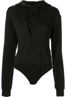 Unravel Project Ribbed Hooded Bodysuit - Preto
