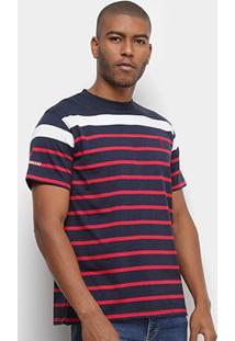 Camiseta Aleatory Fio Tinto Listras Masculina - Masculino-Marinho+Vermelho