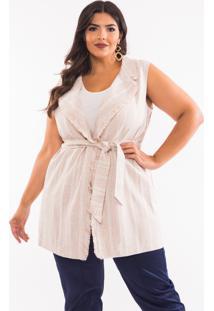 Colete Almaria Plus Size Pianeta Tweed Caramelo