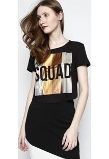 Camiseta Cropped ''Squad'' Metalizada - Preta & Prateadamy Favorite Things
