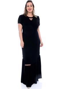 Vestido Longo Recortes Preto Plus Size