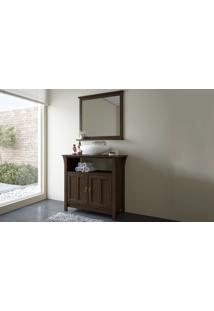 Conjunto De Móveis Para Banheiro - Armário Para Banheiro Com Espelheira Retrô De Madeira Maciça Mission (Maior) - Stain Nogueira