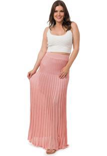 8d92698942 ... Saia Pink Tricot Longa Plissada Lisa Feminino Rosa Claro