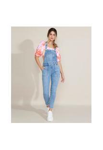 Macacão Jeans Feminino Destroyed Com Bolsos Azul Claro