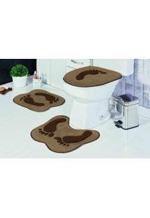 Tapete Jogo Banheiro Formato Pegada Castor