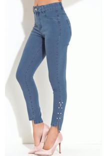 Calça Quintess Jeans Claro Com Pérolas