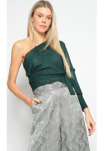 Blusa Ombro ÚNico Texturizada- Verde Escuro- Skunkskunk