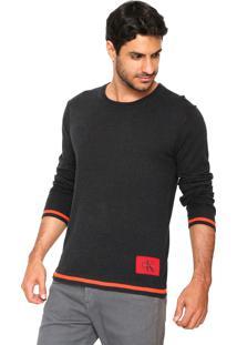 Suéter Tricot Calvin Klein Jeans Básico Preto