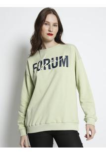 """Blusã£O Em Moletom """"Forum Jeans""""- Verde Claro & Azul Escuforum"""