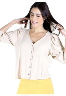 Blusa Decote V Malha Canelada Com Botões Frontais - Kanui