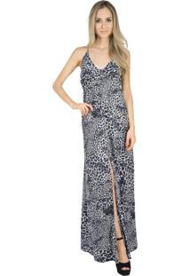Vestido Liage Longo Estampado Onça Animal Print Decote V Fenda Alça Oncinha Alcinha Cinza Branco Preto