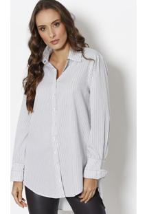 884d775fd ... Camisa Cobra Listrada Alongada - Branca   Preta - Lele Lis Blanc