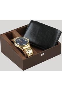 Kit De Relógio Analógico Mondaine Masculino + Carteira - 83462Gpmvde2Kb Dourado - Único