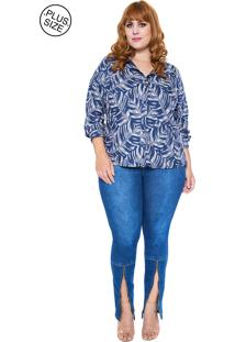 Camisa Voil Ana Naif Plus Size Azul