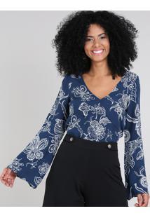 Blusa Feminina Estampada Floral Manga Sino Decote V Azul Marinho