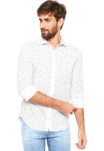 Camisa Handbook Reta Estampada Branca