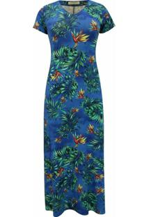 Vestido Pau A Pique Longo Estampado Azul