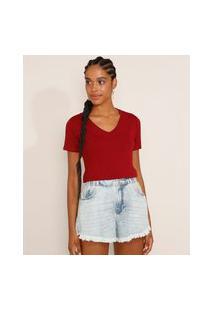 Camiseta Feminina Básica Manga Curta Decote V Vermelha Escuro