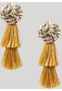 Brinco Feminino Redondo Texturizado Com Tassel Dourado - Único