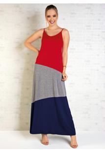 Vestido Longo Vermelho, Mescla E Azul Com Alças