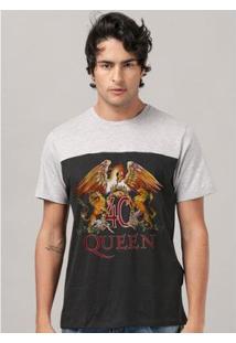 Camiseta Masculina Bicolor Queen Composition - Masculino-Preto+Cinza