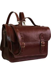 Mochila / Bolsa / Pasta (3 Em 1) - Line Store Leather Satchel N°2 Grande Couro Marrom Avermelhado - Kanui