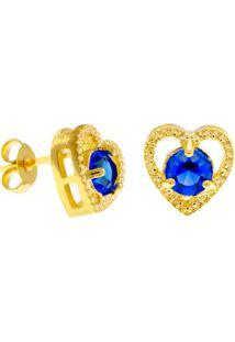 Brinco Horus Import Ponto Luz Coração Azul Zafira Banhado Ouro Amarelo 18 K - 1031127
