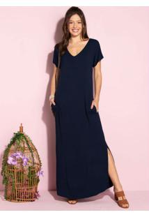 Vestido Longo Soltinho Com Fenda Azul