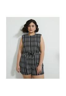 Blusa Regata Em Moletom Estampa Xadrez Pied-De-Poule Curve & Plus Size   Ashua Curve E Plus Size   Preto   Eg