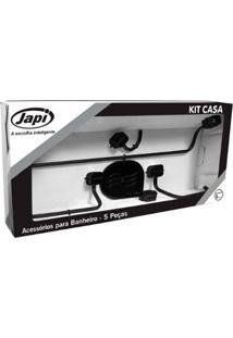 Kit Acessórios 5 Peças Quadrado Casa Preto Fosco - Japi - Japi