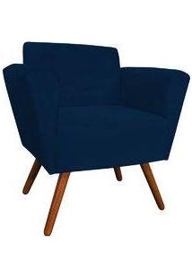 Poltrona Decorativa Dora Suede Azul Marinho - D'Rossi