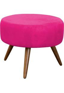 Puff Angélica Redondo Pé Palito Suede Pink