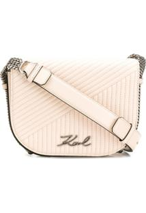 Karl Lagerfeld Bolsa De Couro Matelassê 'K/Signature' - Neutro