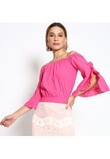 Blusa Ciganinha Com Franzidos- Rosa Escuro- Le Fixle Fix
