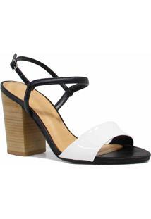 Sandália Zariff Shoes Salto Verniz Branco