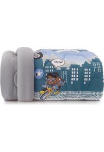 Edredom Solteiro Altenburg Mundo Kids Malha Antimicrobiana 100% Algodão Game Action - Azul Cinza