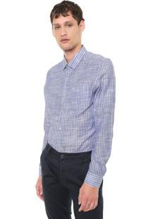 Camisa Slim Listras Calvin Klein Azul/Branca