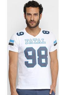 Camiseta Fatal Estampada Alongada Masculina - Masculino-Branco