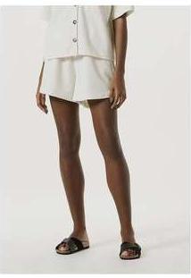 Shorts Feminino Pijama Em Malha Com Linho Off-White