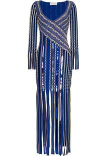 Peter Pilotto Vestido Jacquard Com Franjas - Azul