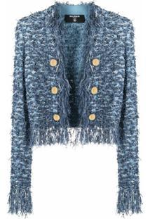 Balmain Blazer De Tweed Com Franjas - Azul