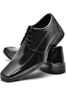 Sapato Social Top Flex Verniz Com Cadarço Masculino - Masculino-Preto