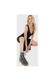 Vestido Calvin Klein Jeans Midi Canelado Preta