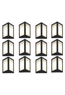 Arandela Triangular Preto Kit Com 12 Casah