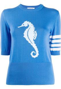 Thom Browne Blusa De Tricô Com Detalhe De Cavalo-Marinho - Azul