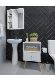 Conjunto Banheiro Espelheira E Criado Retrô Dulce Siena Móveis Branco