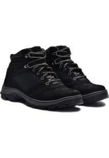 Sapato Coturno Boot Em Couro Nobuck Masculino Adventure - Masculino-Preto