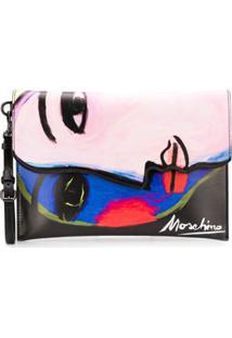 Moschino Clutch Com Estampa De Face - Preto