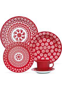 Aparelho De Jantar Floreal Renda - 20 Peças - Oxford - Vermelho